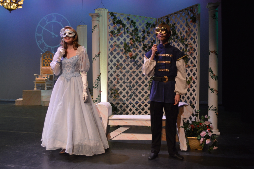 Cinderella (Malena Davis) meets her Prince (Eric Ratliff) at the ball. Photo by Larry McClemons.