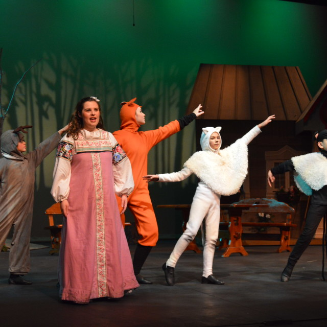 Snow White (Zoe Rocchio) meets animal friends in the forest. Photo by Larry McClemons.