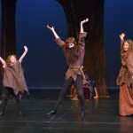 Hansel and Gretel meet a family of trolls in the Black Forest. (From left to right: Miranda Tonsetic, Nick Boone, Kelly McArdle)