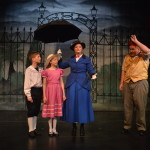 From left to right: Michael Banks (Aidan Pritchard), Jane Banks (Brenna Kay), Mary Poppins (Kaely Clapper), Bert (Brian Metcalf. Photo by Larry McClemons.