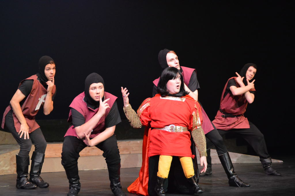 Farquaad (William Shingler) with his Guards from left to right Josh Conrad, Angus Long, Mark Zubaly, and Zach Longsworth Photo by Rosemarie O'Connor