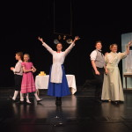 From left to right: Michael Banks (Aidan Pritchard), Jane Banks (Brenna Kay), Mary Poppins (Kaely Clapper), Robertson Ay (Liam Clancy) and Winifred Banks (Kristen Jepperson) Photo by Larry McClemons.