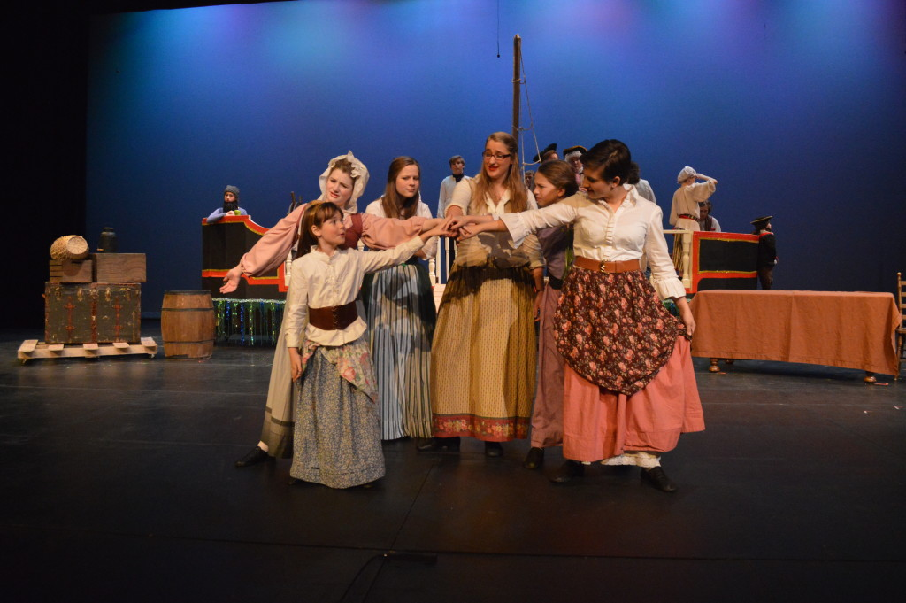 From left to right: Anne Dieulevent (Miranda Tonsetic), Christina Anne Skyette (Colleen Jackson), Elizabeth Killigrew (Abi Burkholder), Annie Bonney (Cecelia Haislmaier), Grace O'Malley (Isabella Russo), and Jeanne de Clisson (Holly Durham)