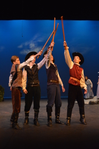 From left to right, D'Artagnan (Christopher Wagner), Porthos (Colin Meek), Aramis (Brody Karton), Athos (Zach Longsworth). Photo by Larry McClemons